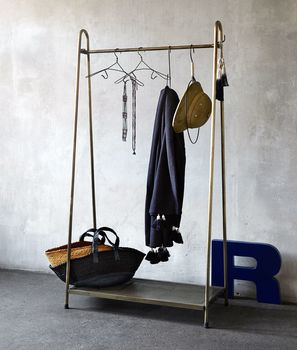 Brass Clothes Rack With Shelf