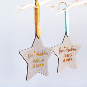 Baby's First Christmas Glitter Star Decoration - tree decorations