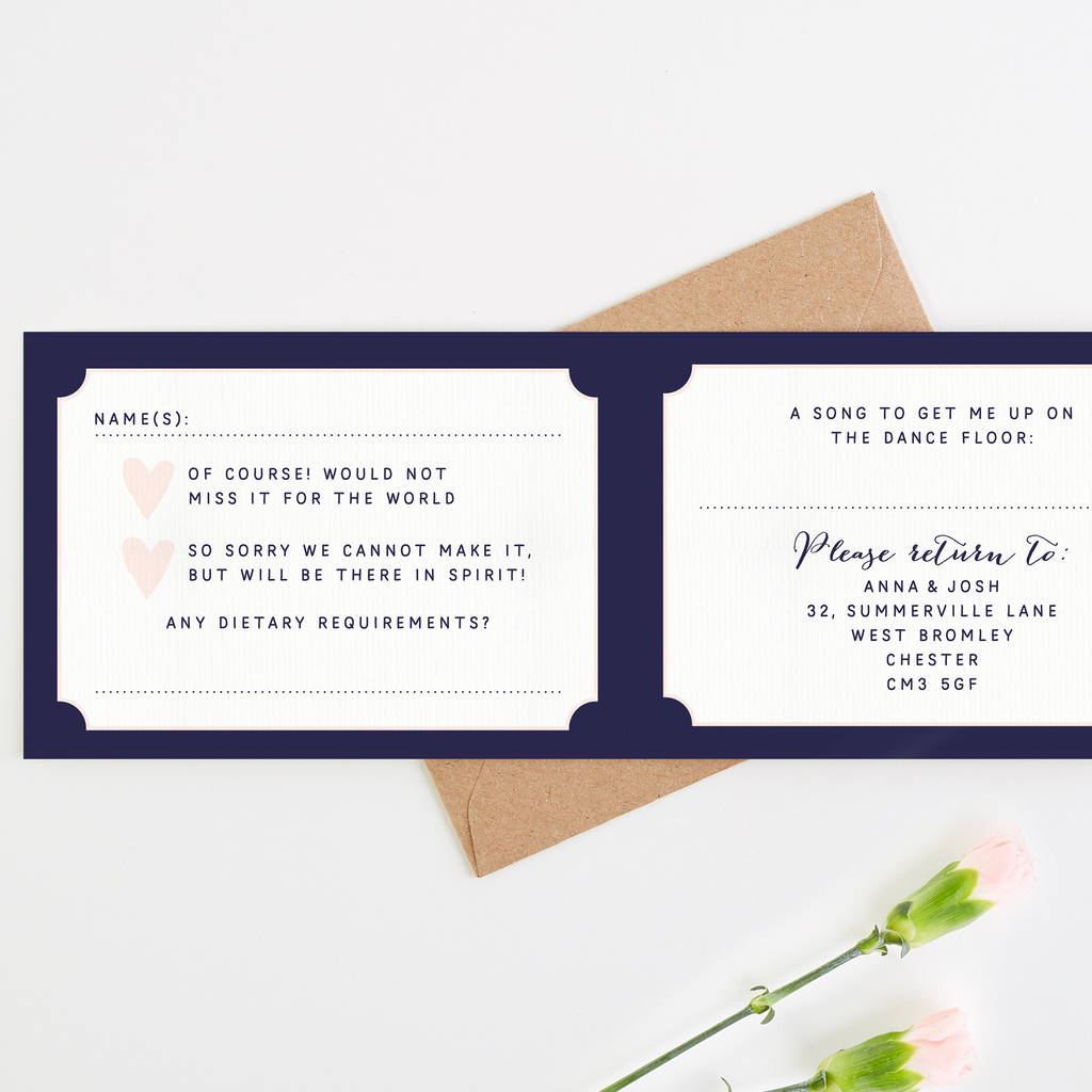 calligraphy blush and navy wedding invitation by norma&dorothy ...