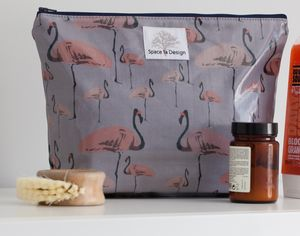 Large Toiletry Bag With Flamingo Party Design
