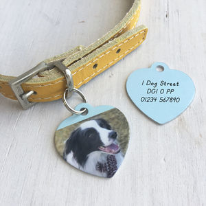 Photo Pet ID Tag Heart Personalised - dogs