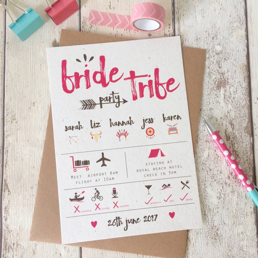 bride tribe hen party invitations by talk of the town parties ...