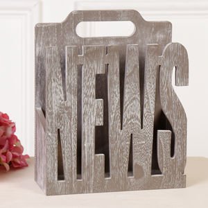 Industrial Wooden Grey Magazine Store - magazine racks