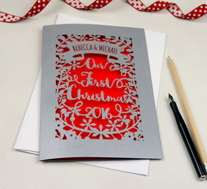 Personalised 'Our First Christmas' Papercut Card - personalised