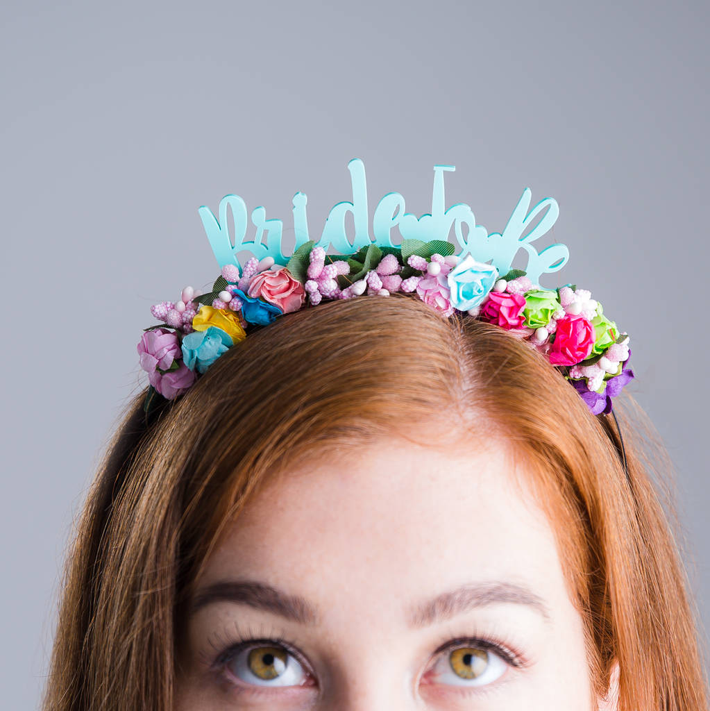 bride to be  colourful floral bridal headband by funky laser ... a9619686349