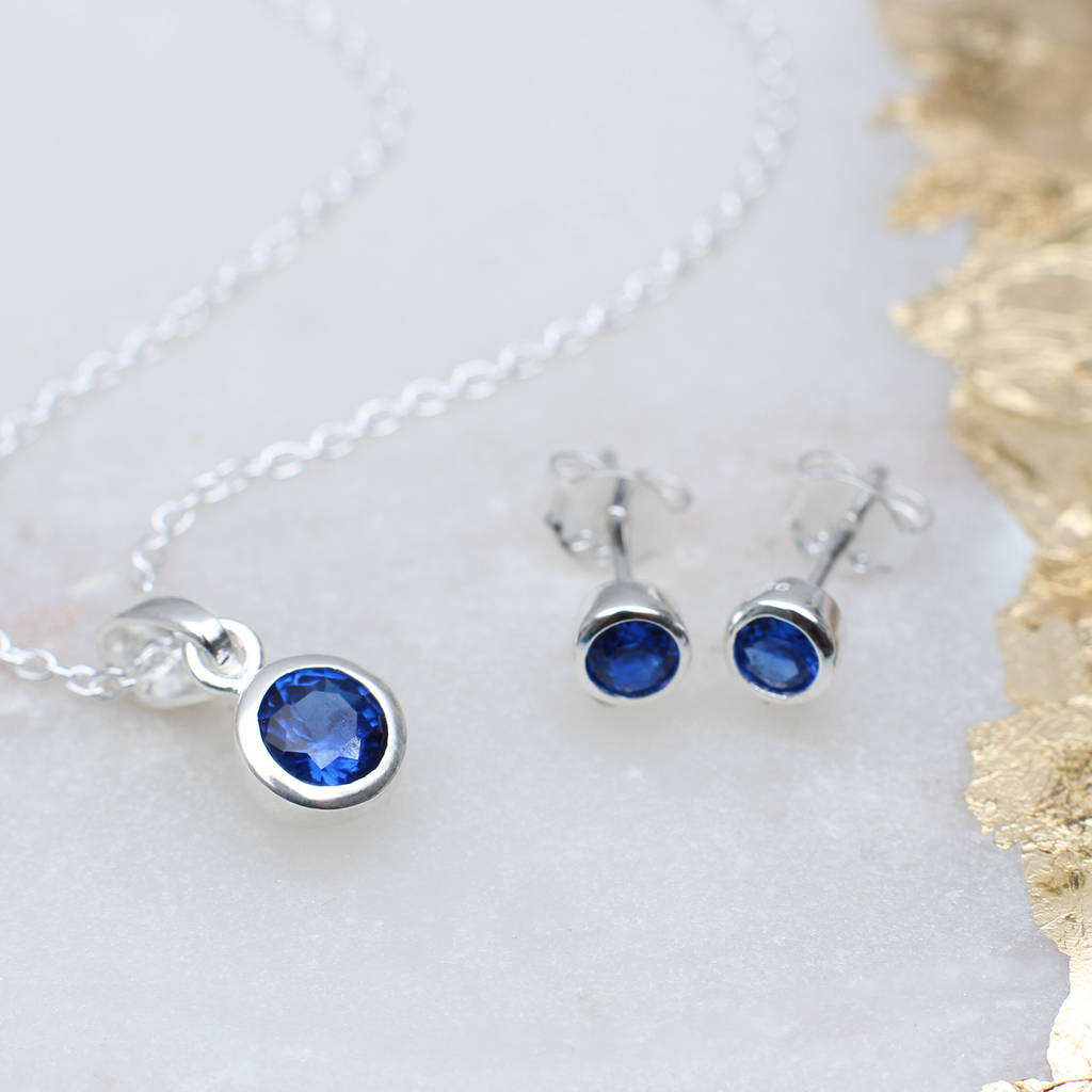 Sterling Silver Birthstone Necklace And Earring Set