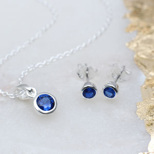 Sterling Silver Birthstone Necklace And Earring Set - children's jewellery