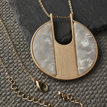 Gold Tortoise Shell Pendant Necklace