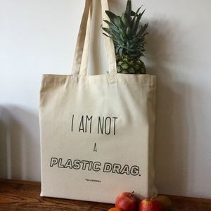 I Am Not A Plastic Drag Canvas Tote Bag - sale