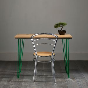 English Oak Hairpin Desk With Attractive Green Inlay - furniture