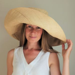 Large Brim Fold Up Straw Hat - head pieces