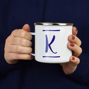 Brush Stroke Initial Enamel Mug