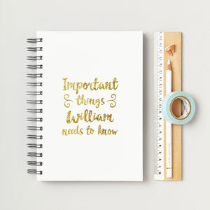 'Important Things' Secret Messages Foiled Notebook