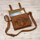 Personalised Vintage Style Brown Leather Small Satchel