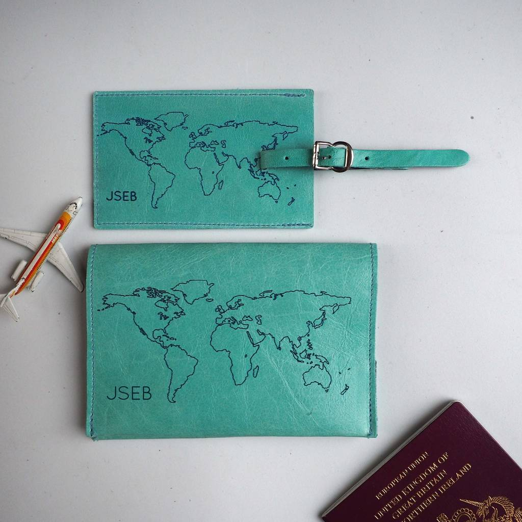 a2a5c21fb2f ... Passport Cover Set Personalised · Turquoise passport and luggage tag