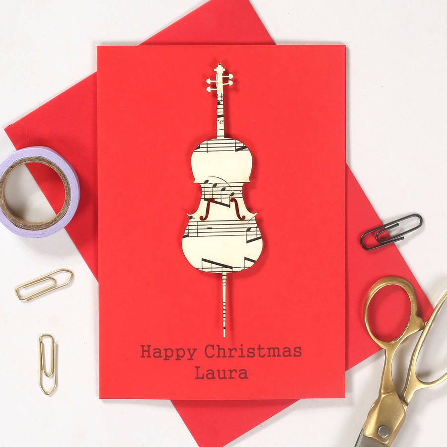 personalised music lover instrument christmas card by bombus ...