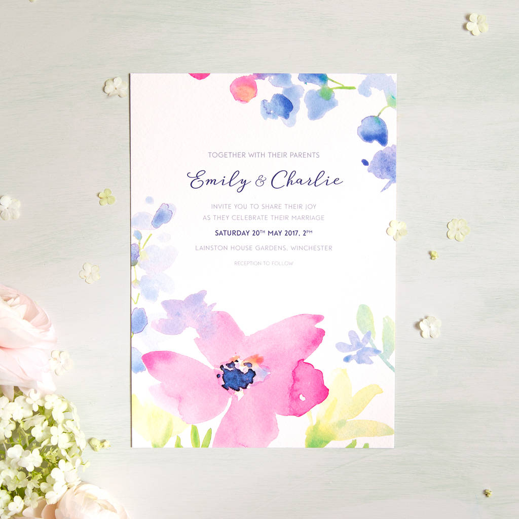 spring blooms wedding invitation by roxwell press