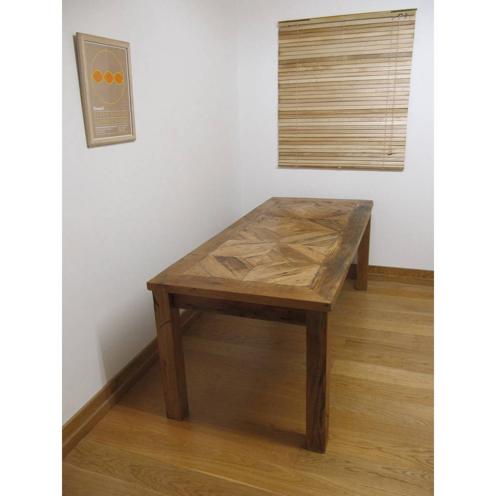 British made reclaimed oak dining table
