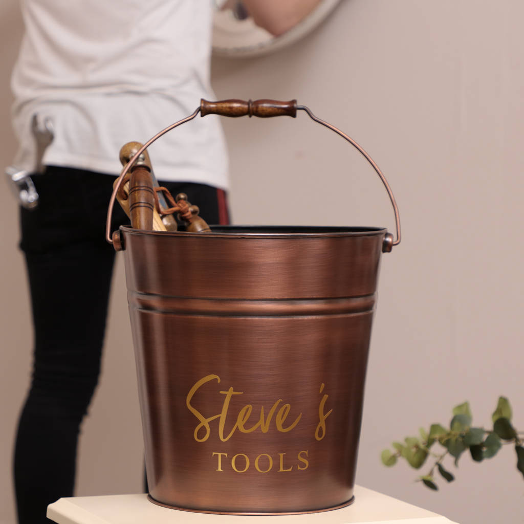 Personalised Copper Tool Storage Bucket