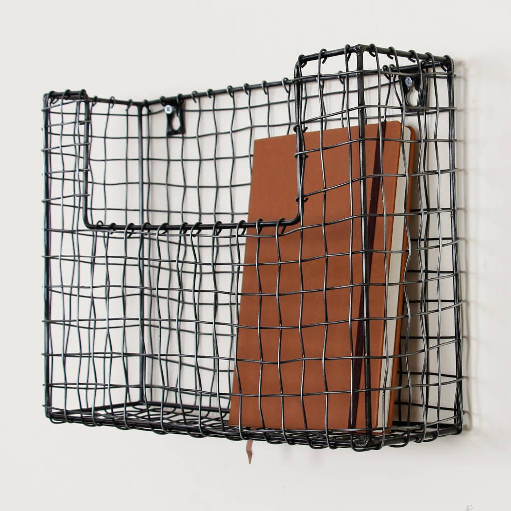 Set Of Three Wall Mounted Black Wire Storage Baskets