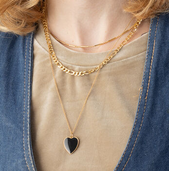 Black Heart Necklace With Slider Clasp