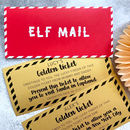 Elf Mail Christmas Card With Travel Ticket