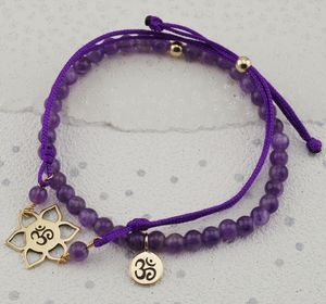 Ohm Charm Amethyst Bracelets In Gold Or Silver
