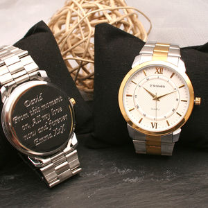 Gents Engraved Wrist Watch Silver And Gold