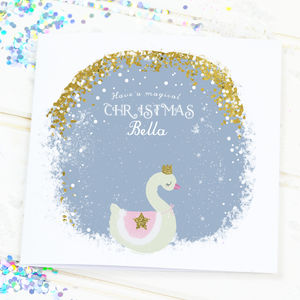 Personalised Christmas Card For Girls 'Magic swan'