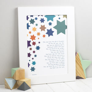 Wishes For A Child Christening New Baby Print - children's pictures & paintings