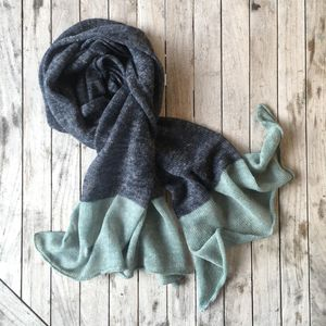 Alpaca And Linen Colour Block Scarf - womens