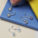 Birthstone Gemstone Hook Earrings In Sterling Silver