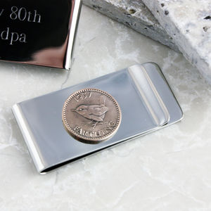 Farthing 80th 1937 Birthday Coin Money Clip - wallets & money clips
