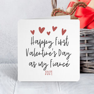 Happy First Valentine's Day As My Fiancé Card