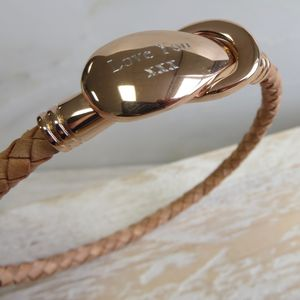 Engraved Leather Rope Bracelet