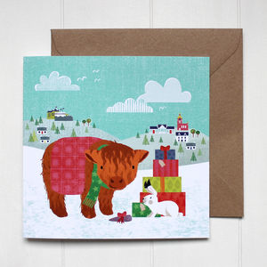 Highland Cow And Hare Christmas Card