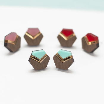 Wood And Acrylic Geometric Stud Earrings