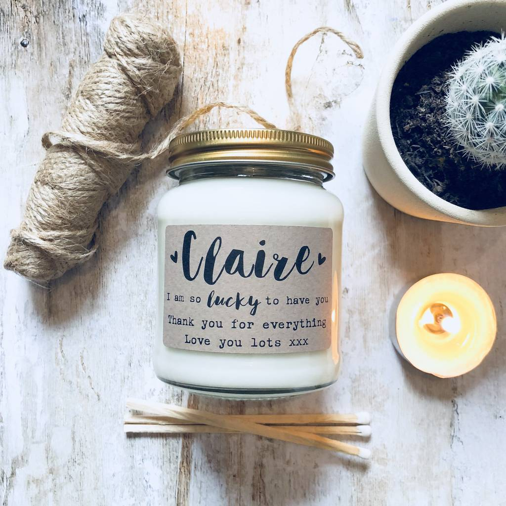 Personalised 'So Lucky To Have You' Soy Scented Candle