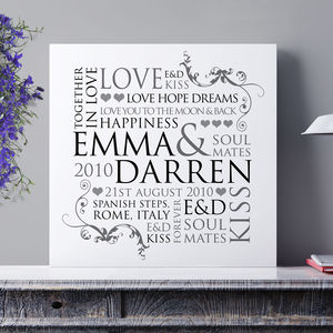 Personalised Couple's Word Design Print - personalised