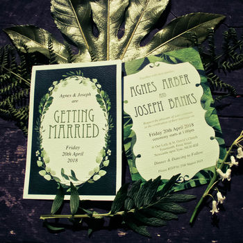 Greenery Leaves Watercolour Wedding Invitations