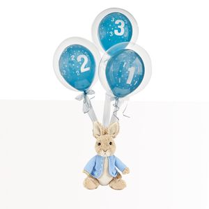 Blue Birthday Bubble Balloon With Peter Rabbit Soft Toy