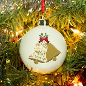 Bone China Jingle Bells Personalised Bauble - christmas decorations