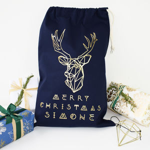 Personalised Reindeer Navy Christmas Sack