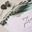 Green Watercolour Foil Invitations