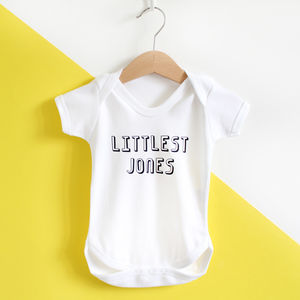 Littlest Family Member, Personalised Baby Grow /T Shirt - babygrows