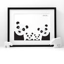 Panda Family Selfie, Personalised Print