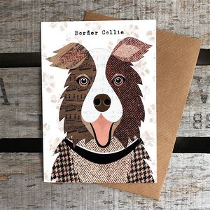 Brown And White Collie Dog Card