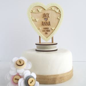 Personalised Heart Wedding Cake Topper - cake decoration