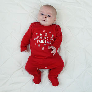 Personalised Snowflake First Christmas Sleepsuit - baby's first christmas