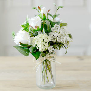 Faux White Rose English Garden Blooms With Vintage Jar - artificial flowers
